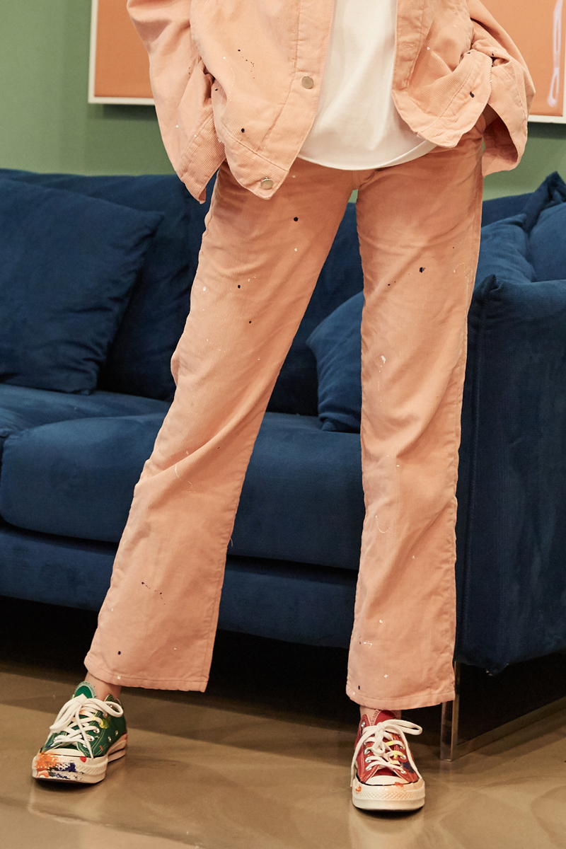 [unisex] painting corduroy pants (pink)