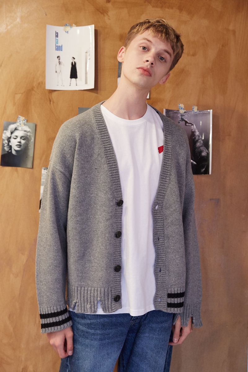 [unisex] damage cardigan (grey)