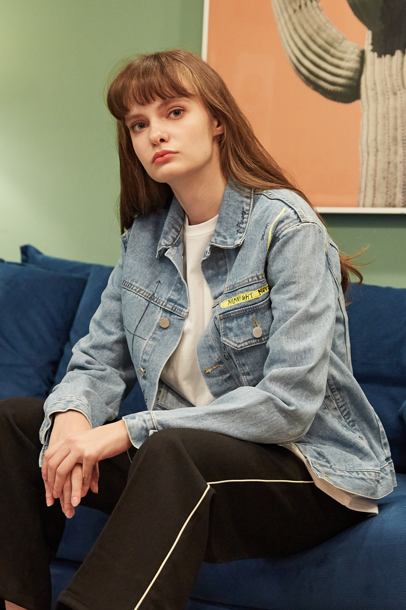 [unisex] number denim jacket (navy)