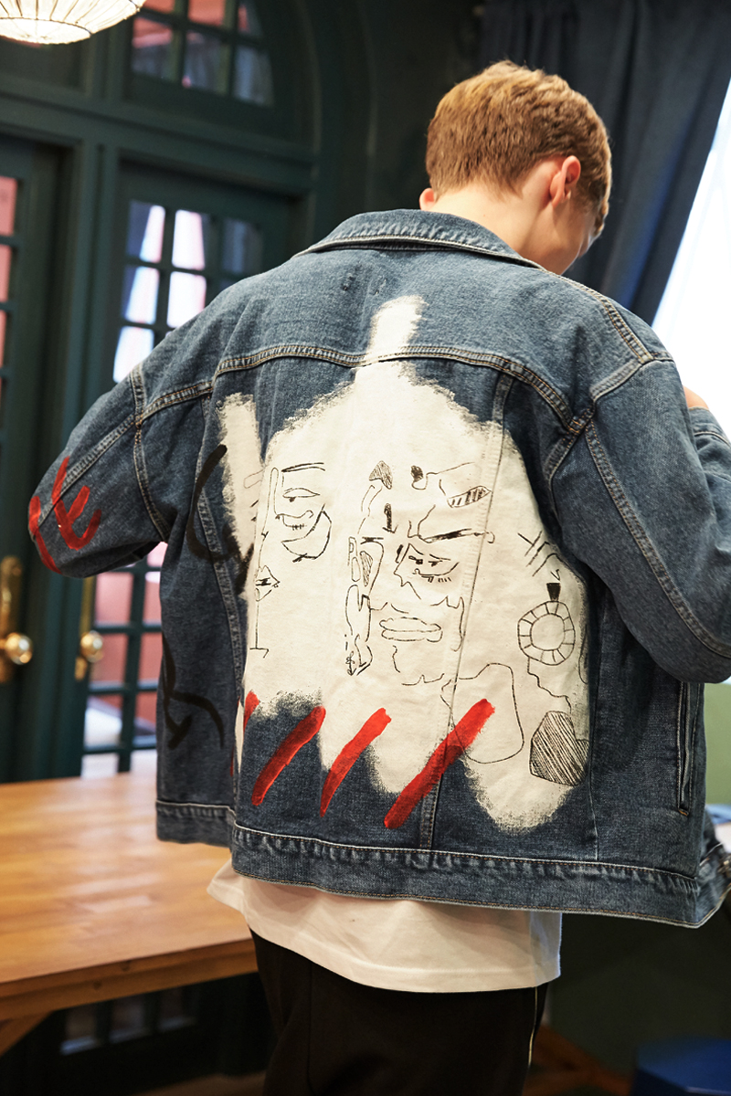 [unisex] face denim jacket (navy)