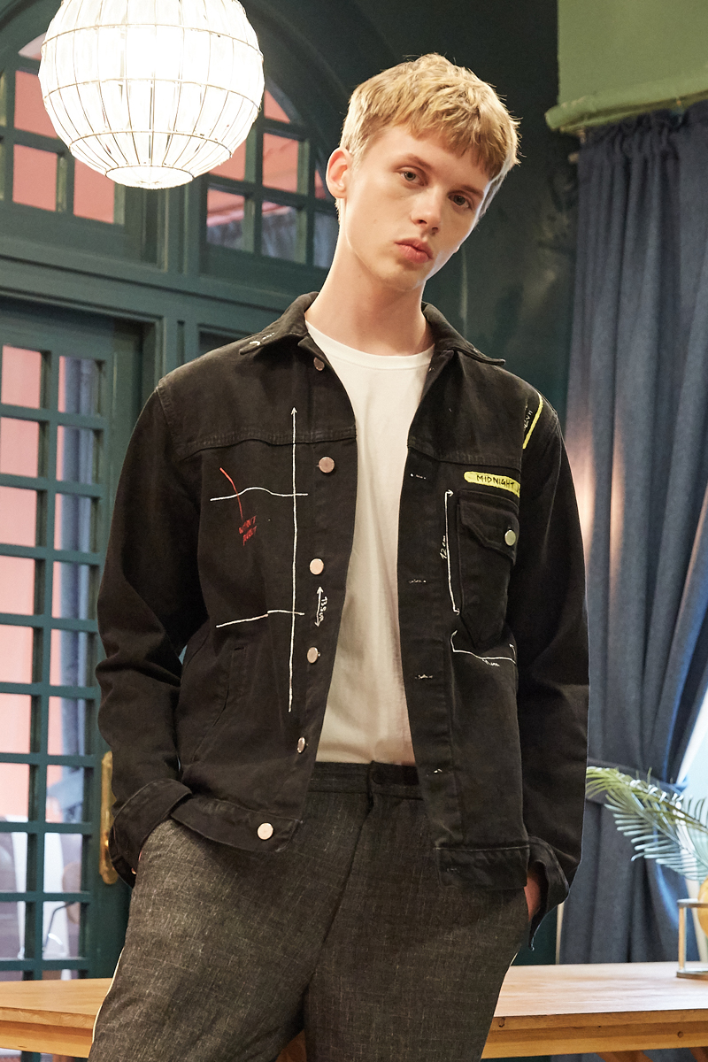 [unisex] number denim jacket (black)