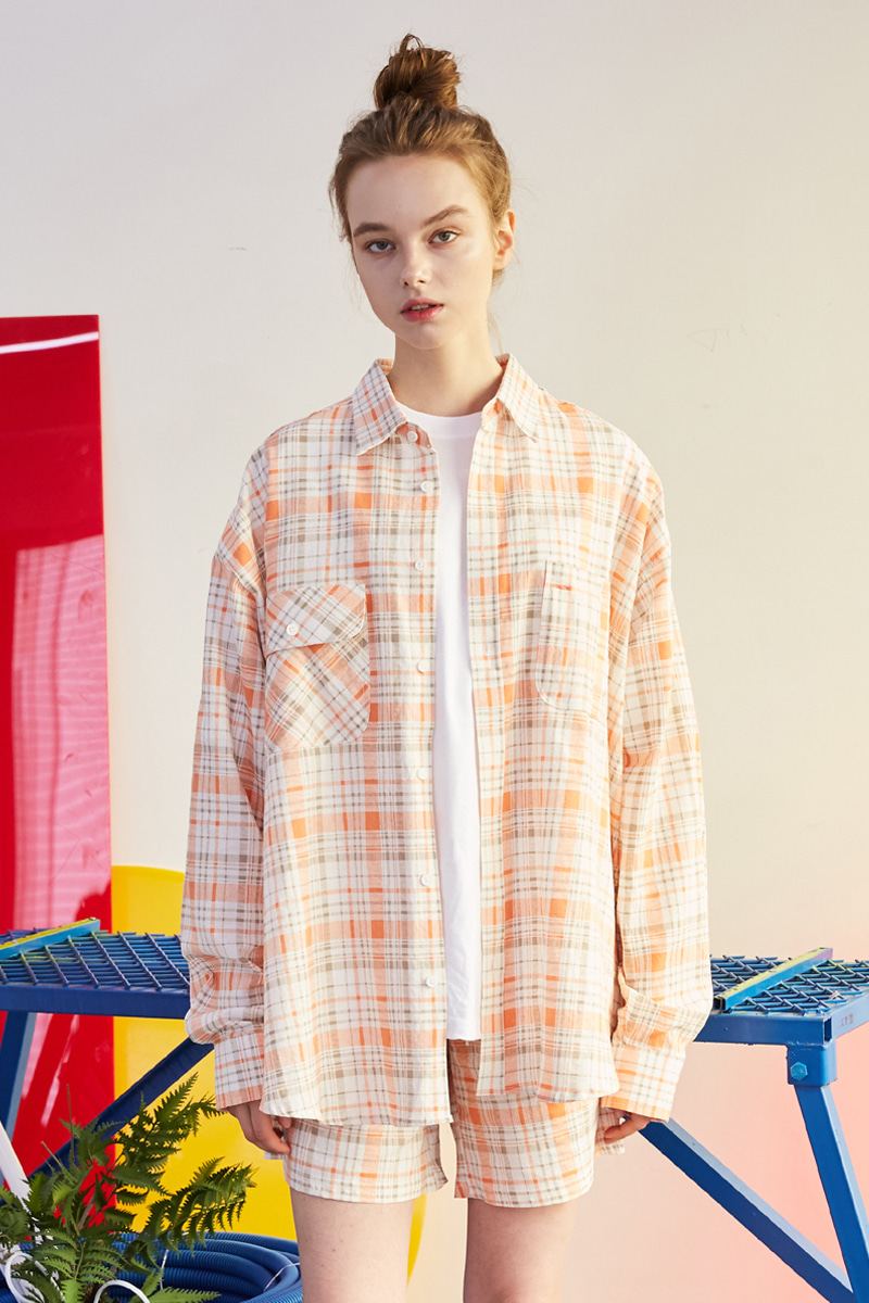 [unisex] check shirts (orange)