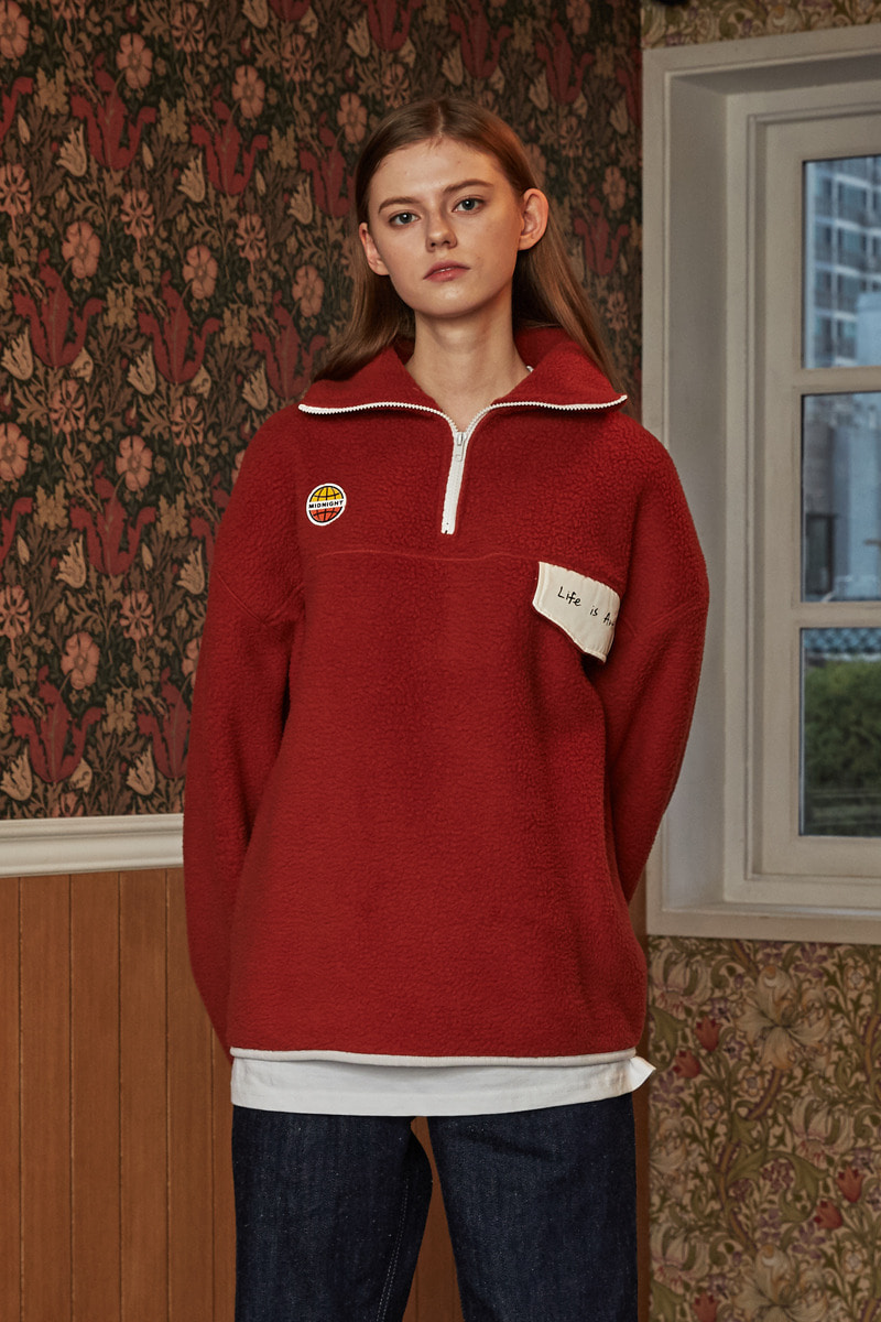 [unisex] fleece pola (dark red)