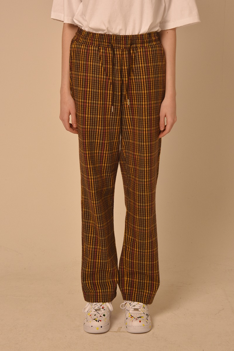 [unisex] check pants (brown)