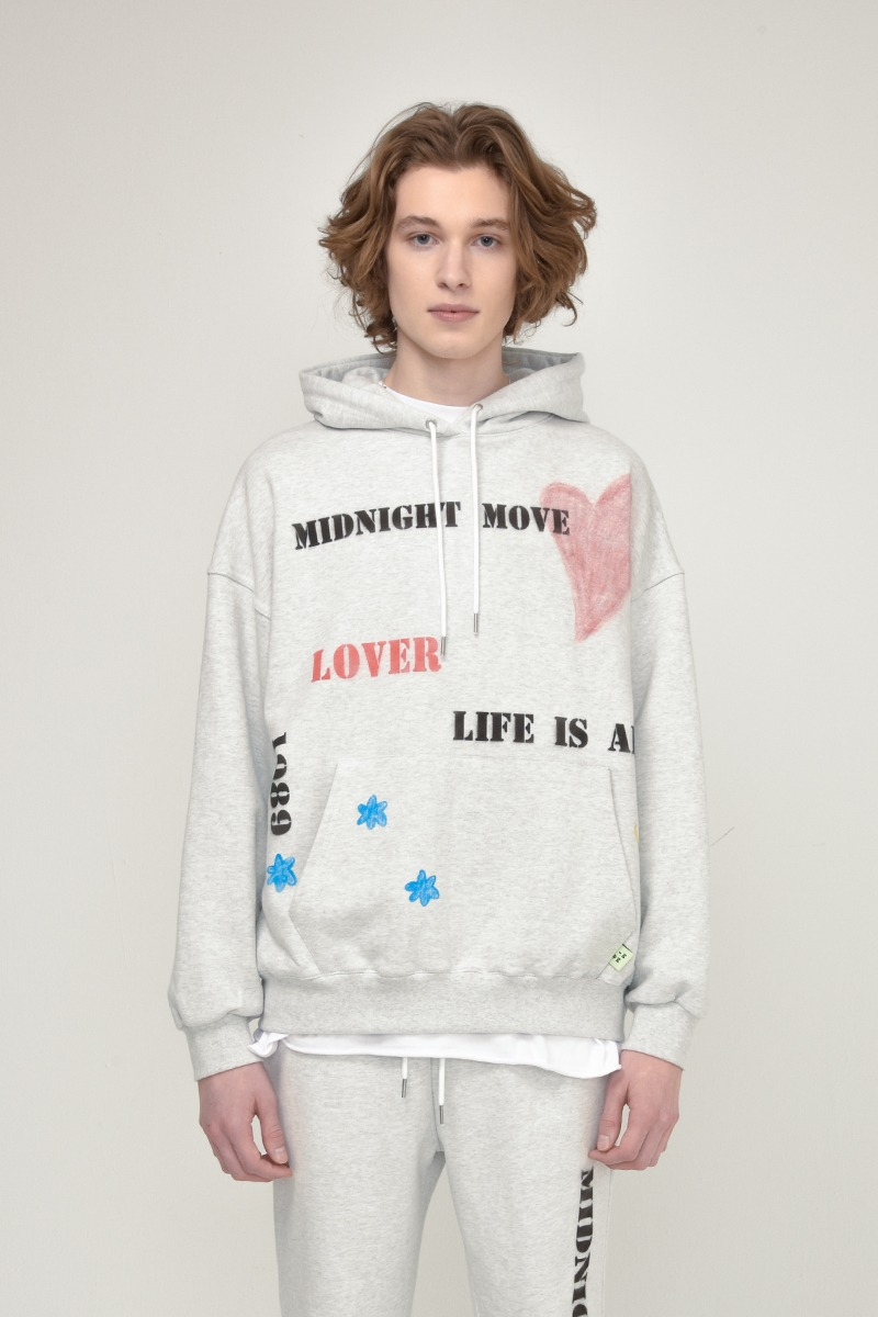 [unisex] heart hood (off white)