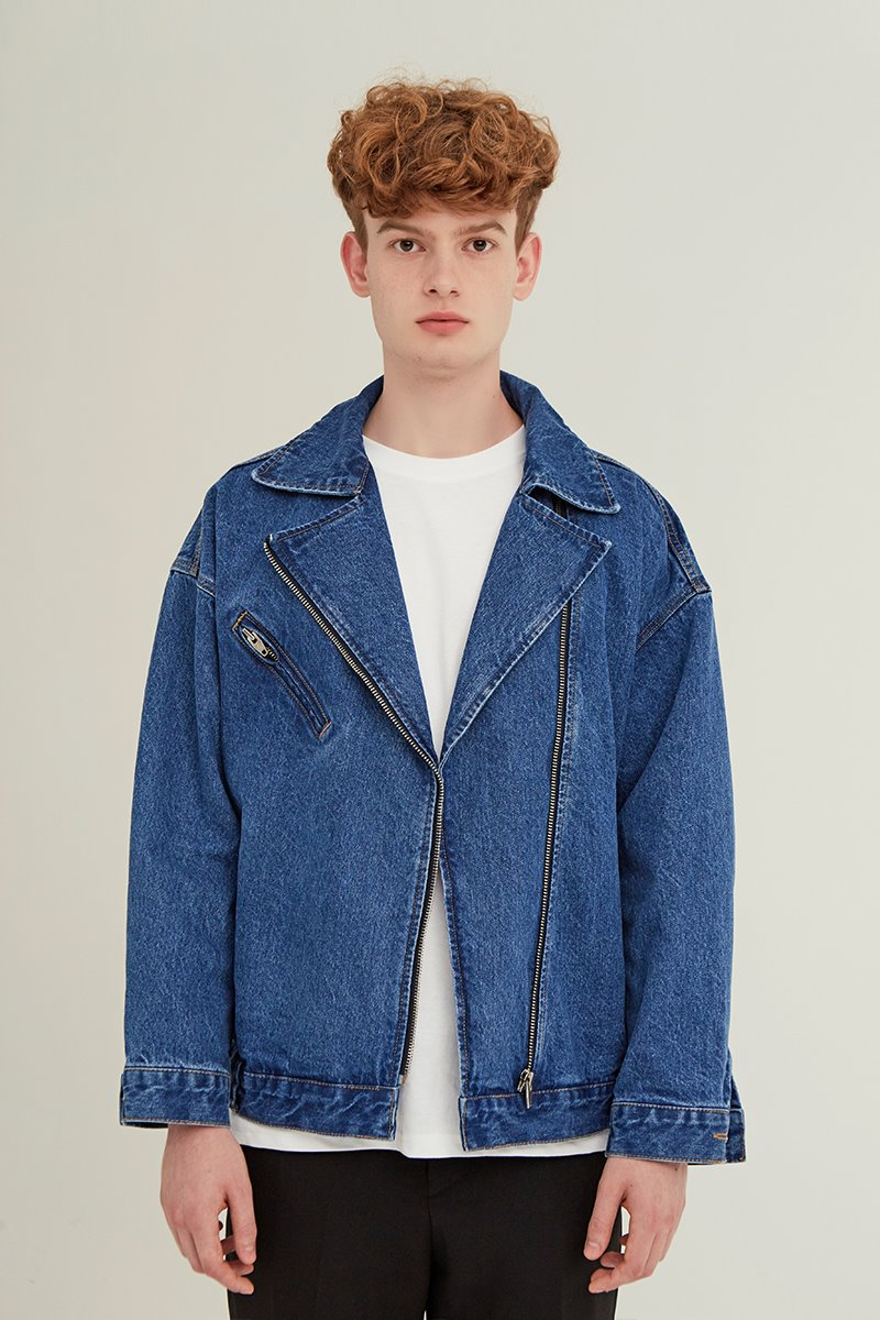 [unisex] rider denim jacket (blue)